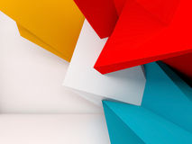 Abstract 3d render interior background. Abstract white interior background with colorful polygonal installation on front wall, 3d render illustration Royalty Free Stock Images