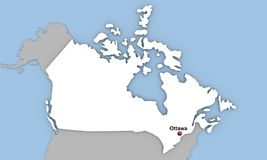 Abstract 3d render of map of Canada. Highlighted in white color and location of the capital Ottawa marked with red pin Stock Image