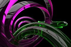 Abstract 3d rendered background. Abstract 3d render with transparent pink and green shapes on a black background Royalty Free Stock Photos