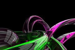 Abstract 3d rendered background. Abstract 3d render with transparent pink and green shapes on a black background stock illustration