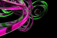Abstract 3d rendered background. Abstract 3d render with transparent pink and green shapes on a black background royalty free illustration