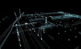 Abstract 3D rendered city of lines and dots. With depth of field. Skyscrapers and roads on the streets of the city. The concept of the digital world. 3d Stock Photography