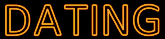 Dating neon sign. Abstract 3d rendered words dating orange neon sign on black background Stock Image