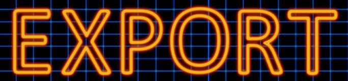 Export neon sign. Abstract 3d rendered words export orange neon sign on blue wire background Stock Photos