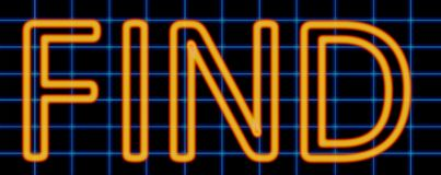Find neon sign. Abstract 3d rendered words find orange neon sign on blue wire background Royalty Free Stock Image