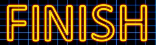 Finish neon sign. Abstract 3d rendered words finish yellow neon sign on blue wire background Stock Image