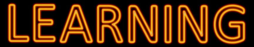 Learning neon sign. Abstract 3d rendered words learning orange neon sign on black background Royalty Free Stock Image