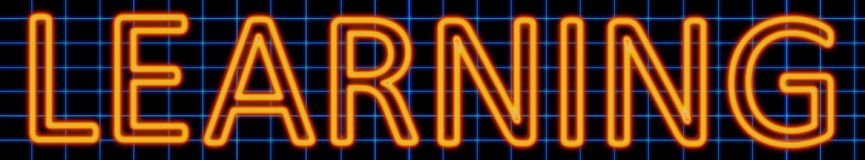 Learning neon sign. Abstract 3d rendered words learning orange neon sign on blue wire background Royalty Free Stock Images