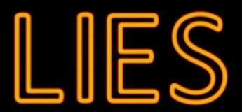 Lies neon sign. Abstract 3d rendered words lies orange neon sign on black background Royalty Free Stock Photos