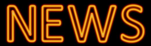 News neon sign. Abstract 3d rendered words news orange neon sign on black background Royalty Free Stock Photo