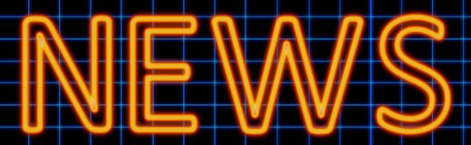 News neon sign. Abstract 3d rendered words news orange neon sign on blue wire background Stock Photos