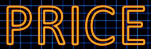 Price neon sign. Abstract 3d rendered words price orange neon sign on blue wire background Royalty Free Stock Photo