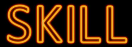 Skill neon sign. Abstract 3d rendered words skill orange neon sign on black background stock illustration