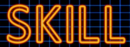 Skill neon sign. Abstract 3d rendered words skill orange neon sign on blue wire background vector illustration