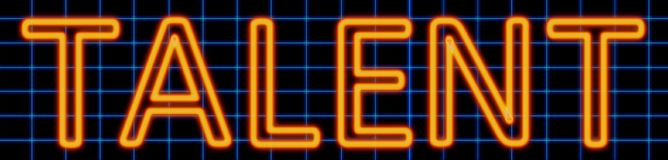 Talent neon sign. Abstract 3d rendered words talent orange neon sign on blue wire background Stock Photos