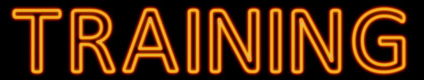Training neon sign. Abstract 3d rendered words training orange neon sign on black background Royalty Free Stock Photos