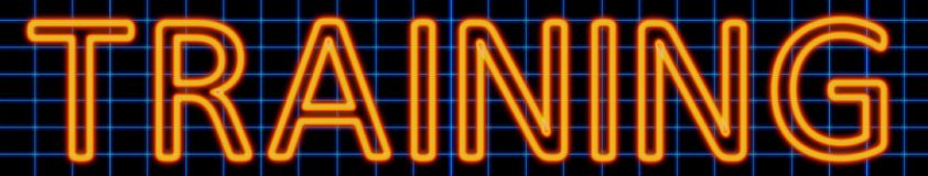 Training neon sign. Abstract 3d rendered words training orange neon sign on blue wire background Royalty Free Stock Images