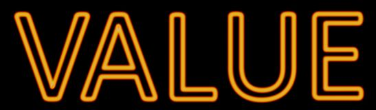 Value neon sign. Abstract 3d rendered words value orange neon sign on black background Stock Images