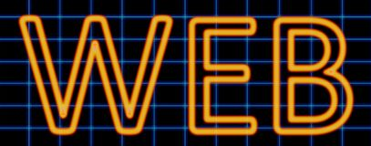 Web neon sign. Abstract 3d rendered words web orange neon sign on blue wire background Royalty Free Stock Image