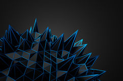 Abstract 3D Rendering of Black Chaotic Structure Stock Photo