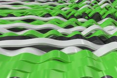 Abstract 3D rendering of black, white and green sine waves Stock Images