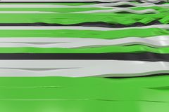 Abstract 3D rendering of black, white and green sine waves Royalty Free Stock Images