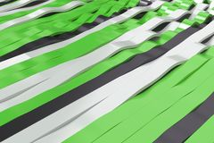 Abstract 3D rendering of black, white and green sine waves Stock Photography
