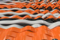 Abstract 3D rendering of black, white and orange sine waves Royalty Free Stock Photos