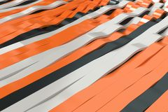 Abstract 3D rendering of black, white and orange sine waves Royalty Free Stock Photo