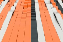 Abstract 3D rendering of black, white and orange sine waves Stock Image