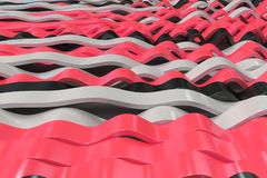 Abstract 3D rendering of black, white and red sine waves. Bended stripes background. Reflective surface pattern. 3D render illustration Vector Illustration
