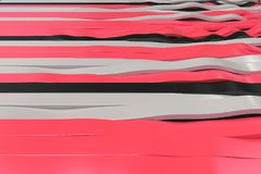 Abstract 3D rendering of black, white and red sine waves. Bended stripes background. Reflective surface pattern. 3D render illustration Stock Illustration