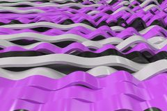 Abstract 3D rendering of black, white and violet sine waves. Bended stripes background. Reflective surface pattern. 3D render illustration Stock Images