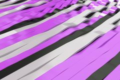 Abstract 3D rendering of black, white and violet sine waves. Bended stripes background. Reflective surface pattern. 3D render illustration Stock Image