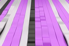 Abstract 3D rendering of black, white and violet sine waves. Bended stripes background. Reflective surface pattern. 3D render illustration royalty free illustration