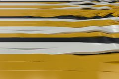 Abstract 3D rendering of black, white and yellow sine waves. Bended stripes background. Reflective surface pattern. 3D render illustration Vector Illustration
