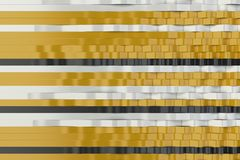 Abstract 3D rendering of black, white and yellow sine waves. Bended stripes background. Reflective surface pattern. 3D render illustration Royalty Free Illustration