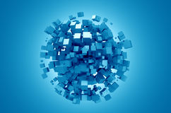 Abstract 3D Rendering of Blue Cubes. 3D rendering of blue cubes. Sci-fi background. Abstract sphere in empty space. Futuristic shape Royalty Free Stock Image