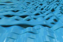 Abstract 3D rendering of blue sine waves. Bended stripes background. Reflective surface pattern. 3D render illustration Stock Image