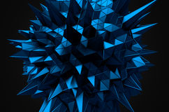 Abstract 3d rendering of blue sphere with chaotic Royalty Free Stock Photography