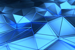 Abstract 3d rendering of blue surface. Background with futuristic lines and low poly shape Stock Photos