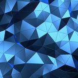Abstract 3d rendering of blue surface. Background with futuristic low poly wall Stock Photos