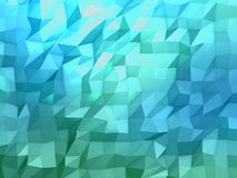 Abstract 3d rendering of blue surface. Abstract blue crystal 3d background with polygonal pattern Stock Image