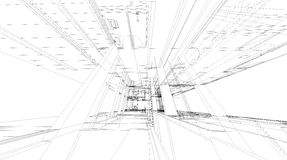 Abstract 3D rendering of building wireframe structure. Royalty Free Stock Photography