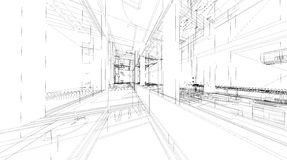 Abstract 3D rendering of building wireframe structure. Royalty Free Stock Photo