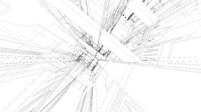 Abstract 3D rendering of building wireframe structure. Royalty Free Stock Image