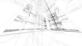 Abstract 3D rendering of building wireframe structure. Abstract 3D render of building wireframe structure royalty free illustration