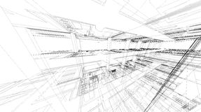 Abstract 3D rendering of building wireframe structure. Stock Photo