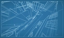 Abstract 3D rendering of building wireframe structure. Vector. Abstract 3D render of building wireframe structure. Vector construction graphic idea for template royalty free illustration