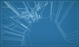 Abstract 3D rendering of building wireframe structure. Vector. Abstract 3D render of building wireframe structure. Vector construction graphic idea for template stock illustration